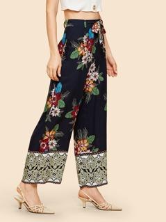 Flower Print Wide Leg Belted Pants