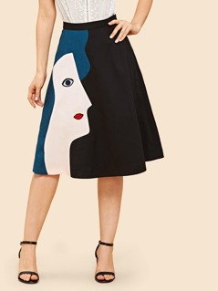 Cut And Sew Graphic Flare Skirt