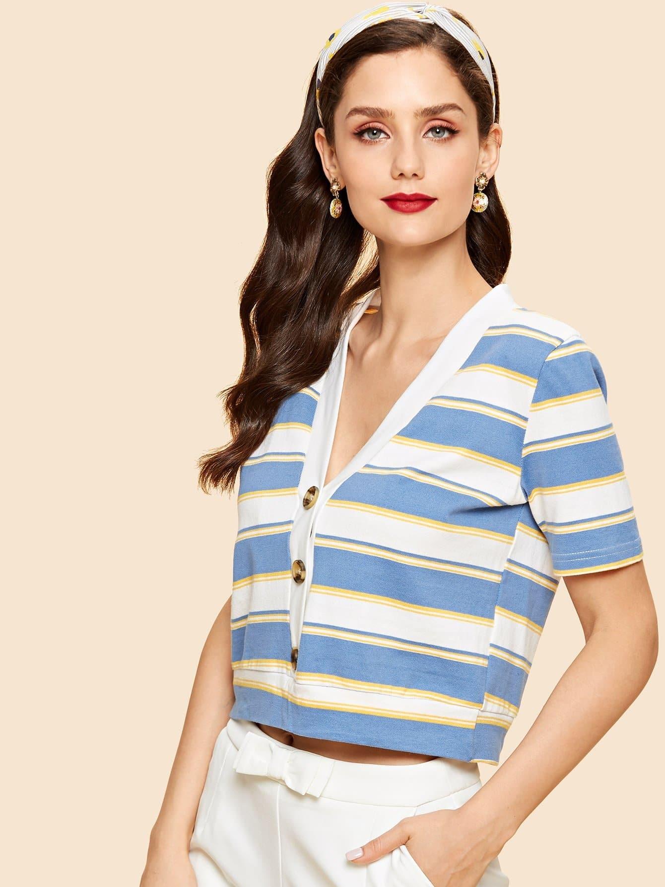 Купить Полосатая блузка и с V воротником и с украшением пуговицы, Julie H., SheIn