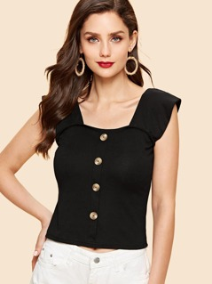 Thick Strap Button Detail Top