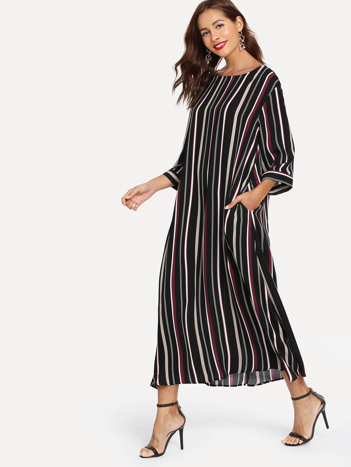 Pocket Side Striped Hijab Dress