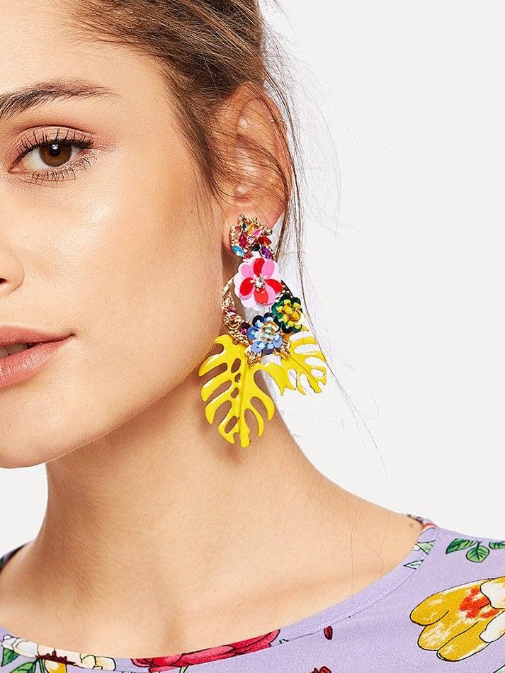 Tropical Leaves & Sequin Flower Drop Earrings 1pair null