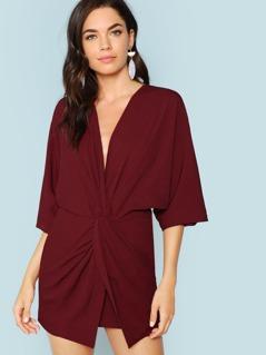 Plunging Neck Twist Front Dress