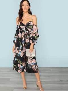 Off The Shoulder Twist Front Floral Jumpsuit