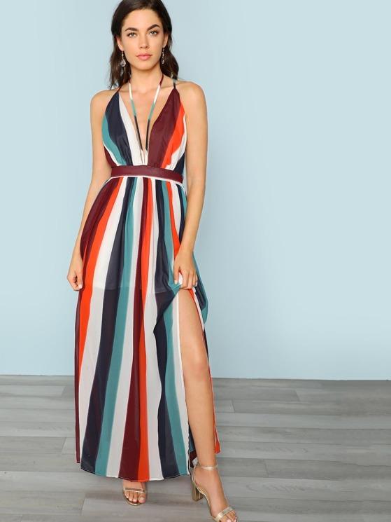f91ee1c9fe V-Neck Double Slit Maxi Dress | MakeMeChic.COM