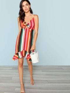 Striped Tie Detail Dress With Ruffle Hem