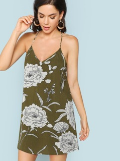 Large Floral Printed Mini Cami Dress