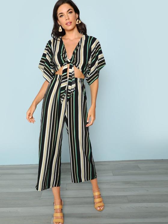 02115ea2fb1f Stripe Tie Front Cut Out Jumpsuit