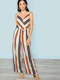 Stripe Wide Leg Surplice Jumpsuit