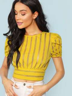 Cropped Sheer Striped Top With Back Cutout