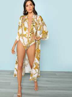 Halter Plunge One Piece Swimsuit And Cover Up Set