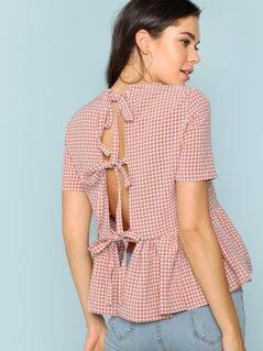 Plaid Ruffle Hem Top With Tie Back