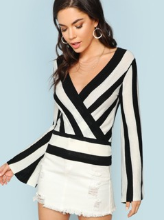 Wrap Striped Sweater