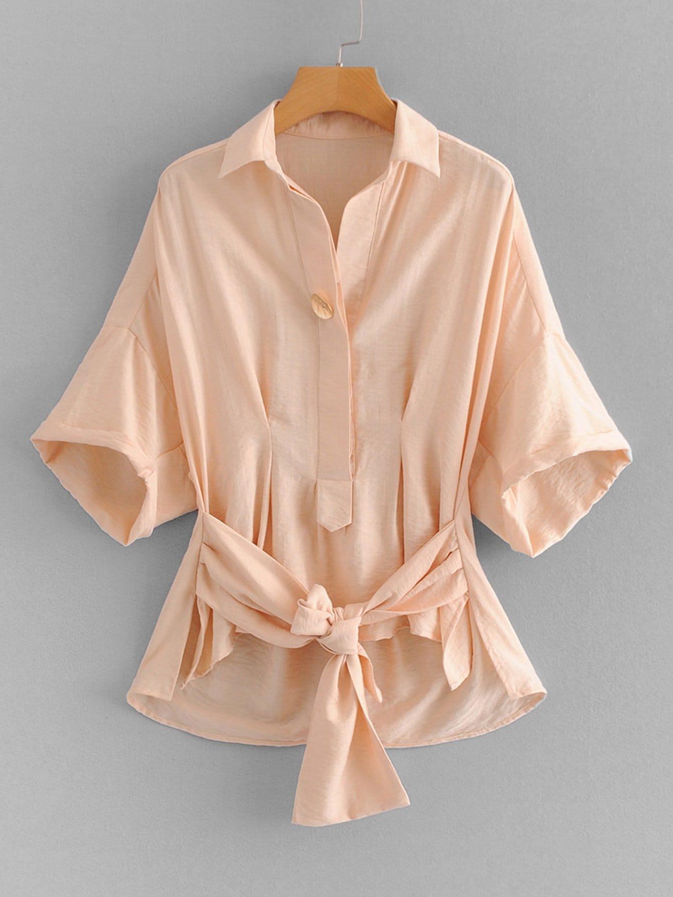 Купить Рубашка и с украшением банта перед одежды и падение плеча и Dip подол, null, SheIn