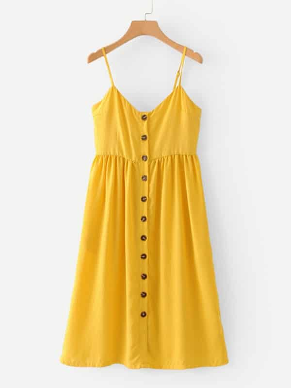 Купить Платье на бретелях и с украшением пуговицы, null, SheIn