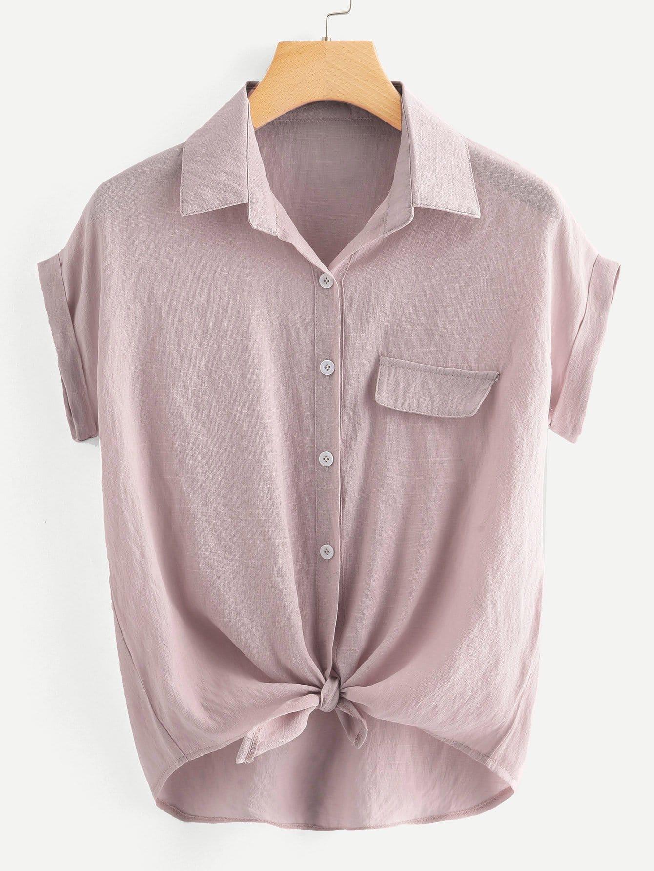 Plus Tie Front Solid Blouse