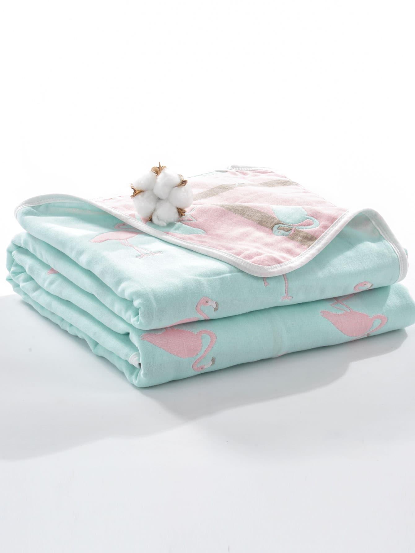Плюшевое одеяло с рисунками фламинго для детей, null, SheIn  - купить со скидкой