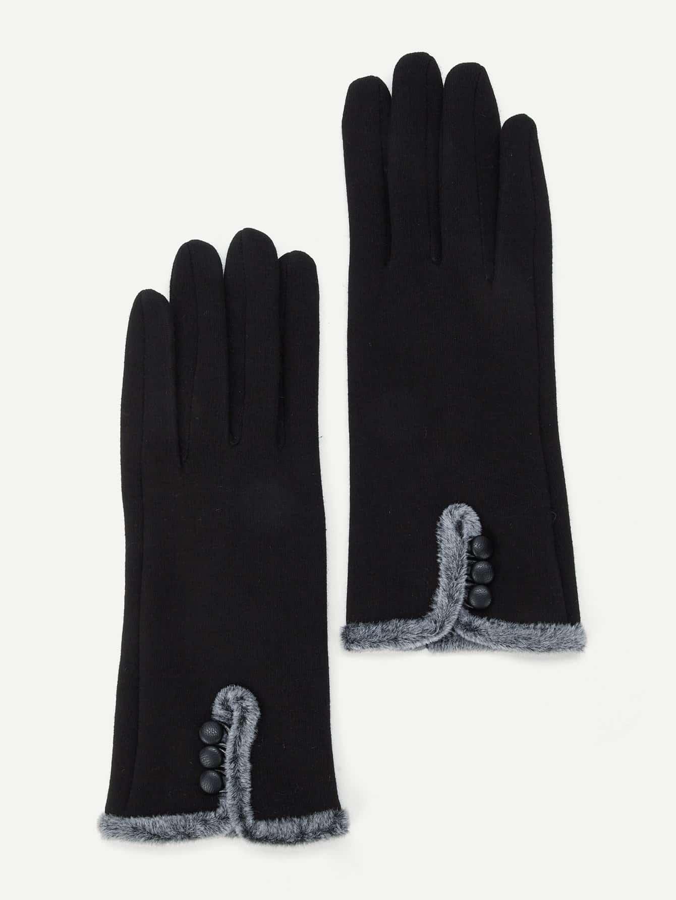 Купить Перчатки из симметрических искусственных кож и с украшением пуговицы, null, SheIn