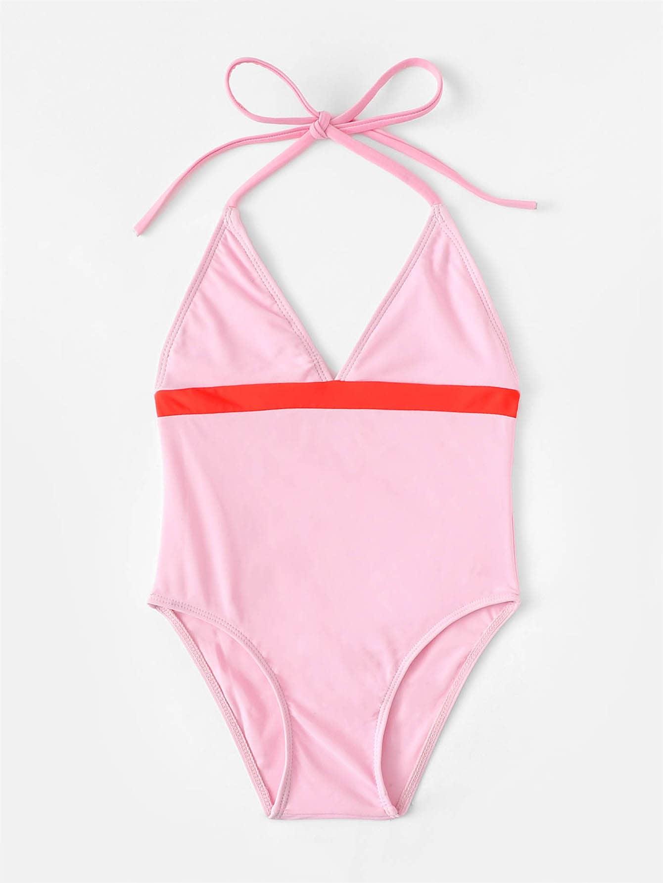 Купить Для девочек купальник с v-образным вырезом, null, SheIn