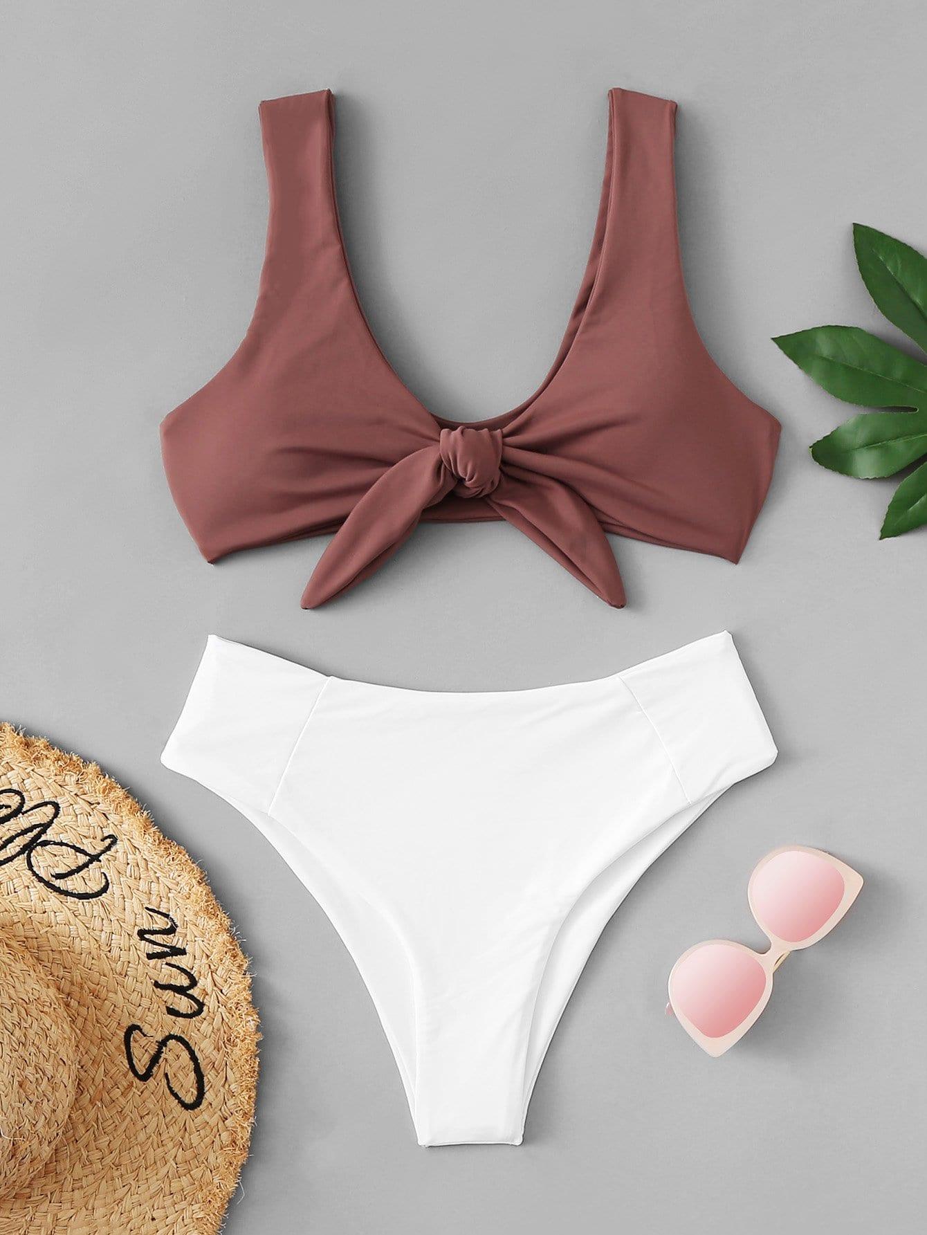 Купить Набор двухцветных бикини и с украшением банта перед одежды, null, SheIn