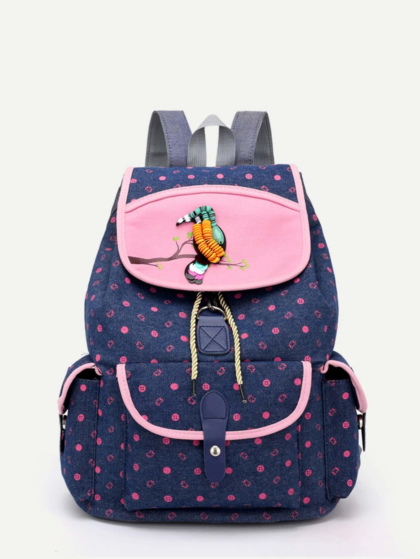 Side Pocket Flap Canvas Backpack