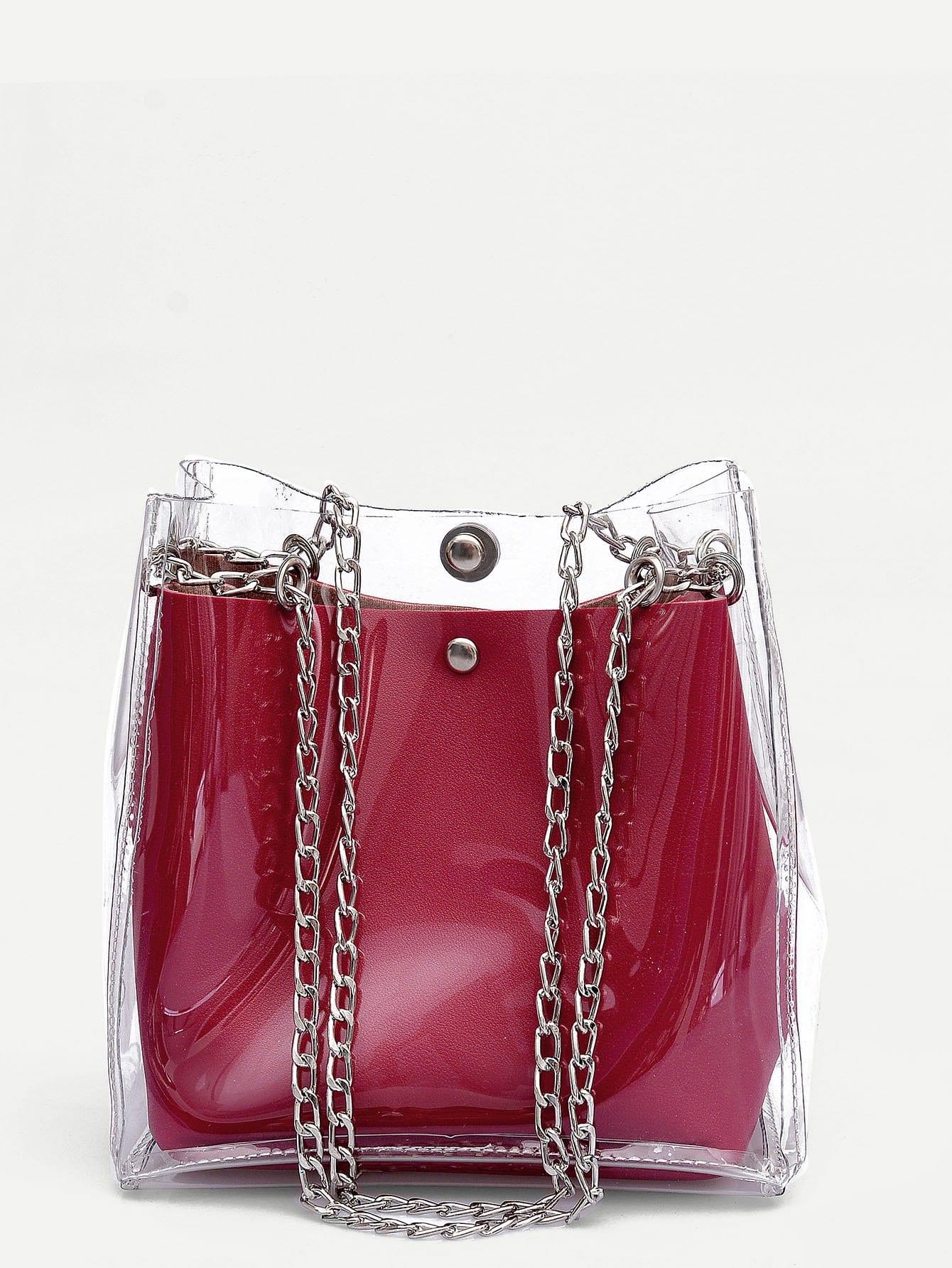 Купить Прозрачная цепная сумка и с маленькой сумкой, null, SheIn