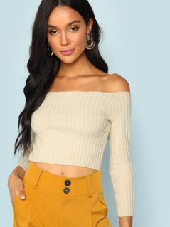 Off The Shoulder Rib Knit Top