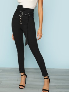 Belted High Waisted Paper bag Jean