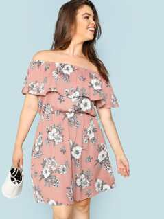 Plus Floral Print Off Shoulder Dress