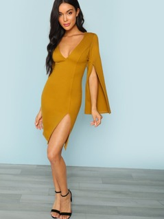 Open Sleeve Thigh Slit Dress