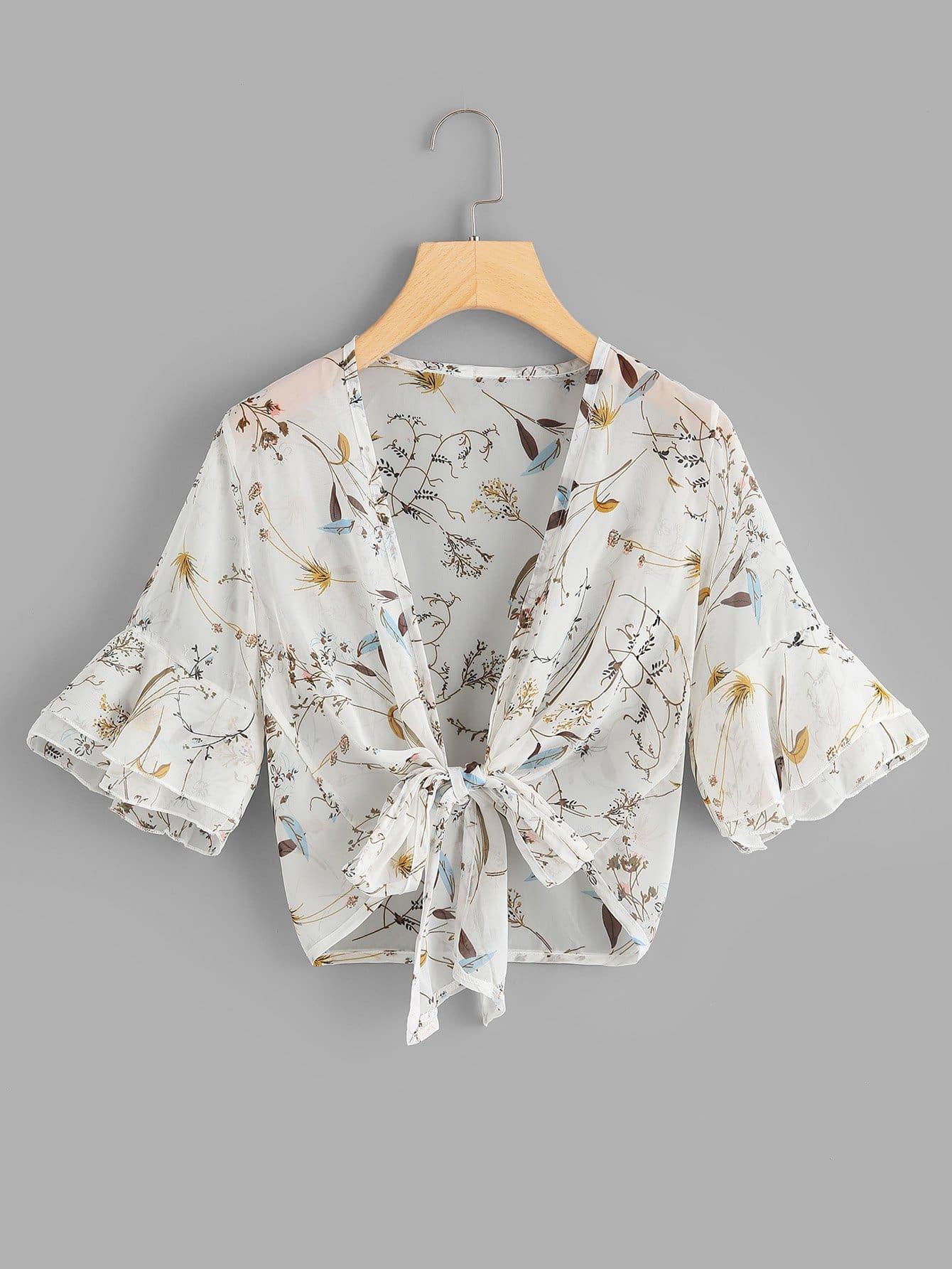 Bluse mit Band vorn, Schößchensaum auf den Ärmeln und Muster