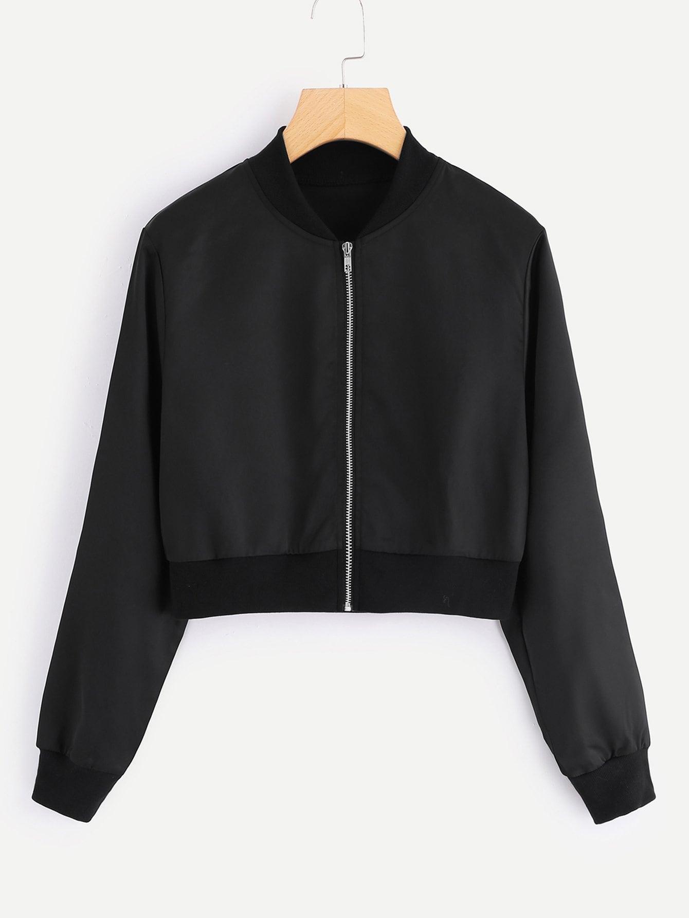 Купить Повседневный Одноцветный бомбардировщик Черный Жакеты + Куртки, null, SheIn