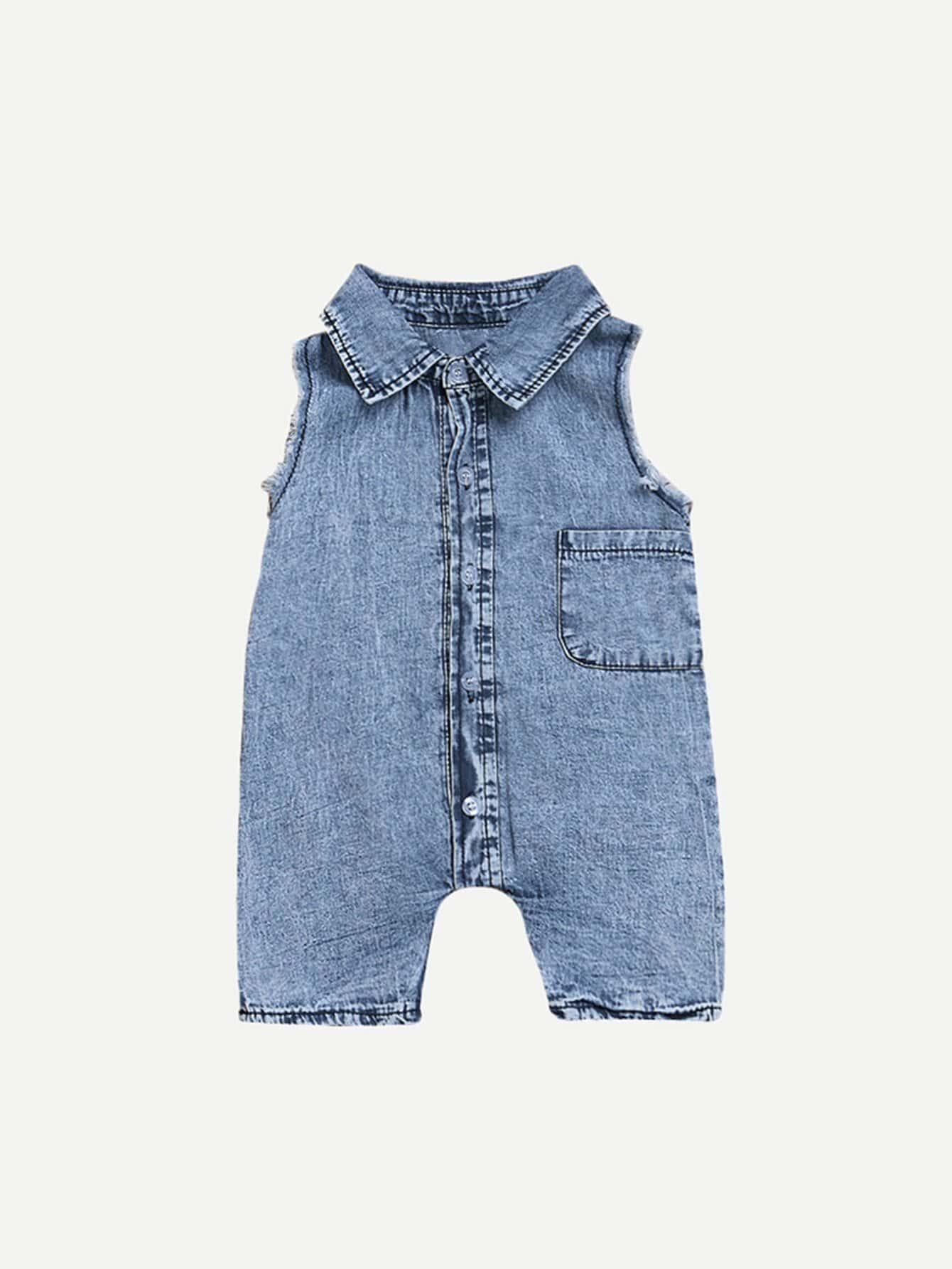 Купить Рваный джинсовый комбинезон как промывания и без рукавов для мальчика, null, SheIn