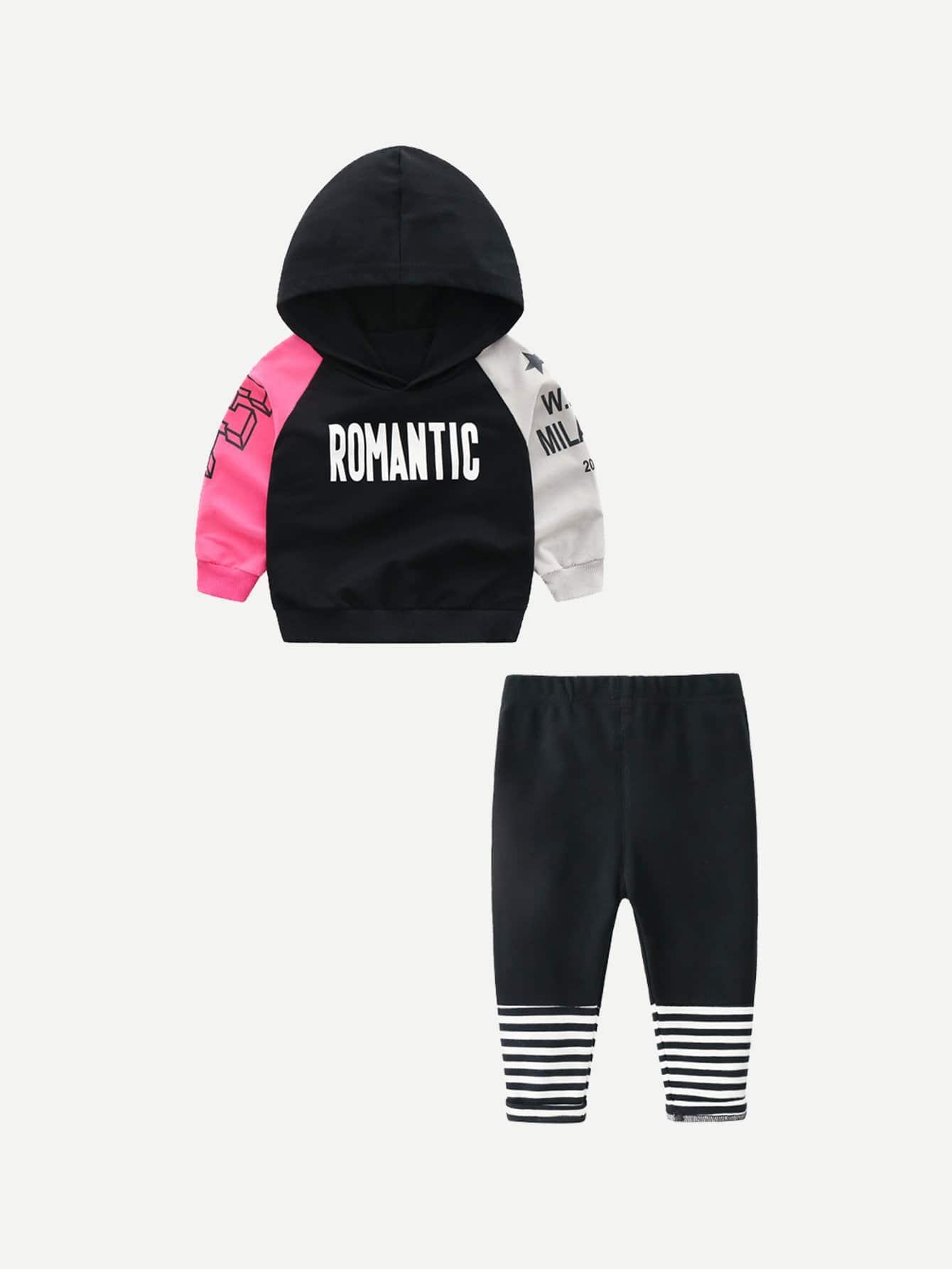 Купить Спортивная футболка с капюшоном и с рисунками буквы и полосатые брюки для девочки, null, SheIn