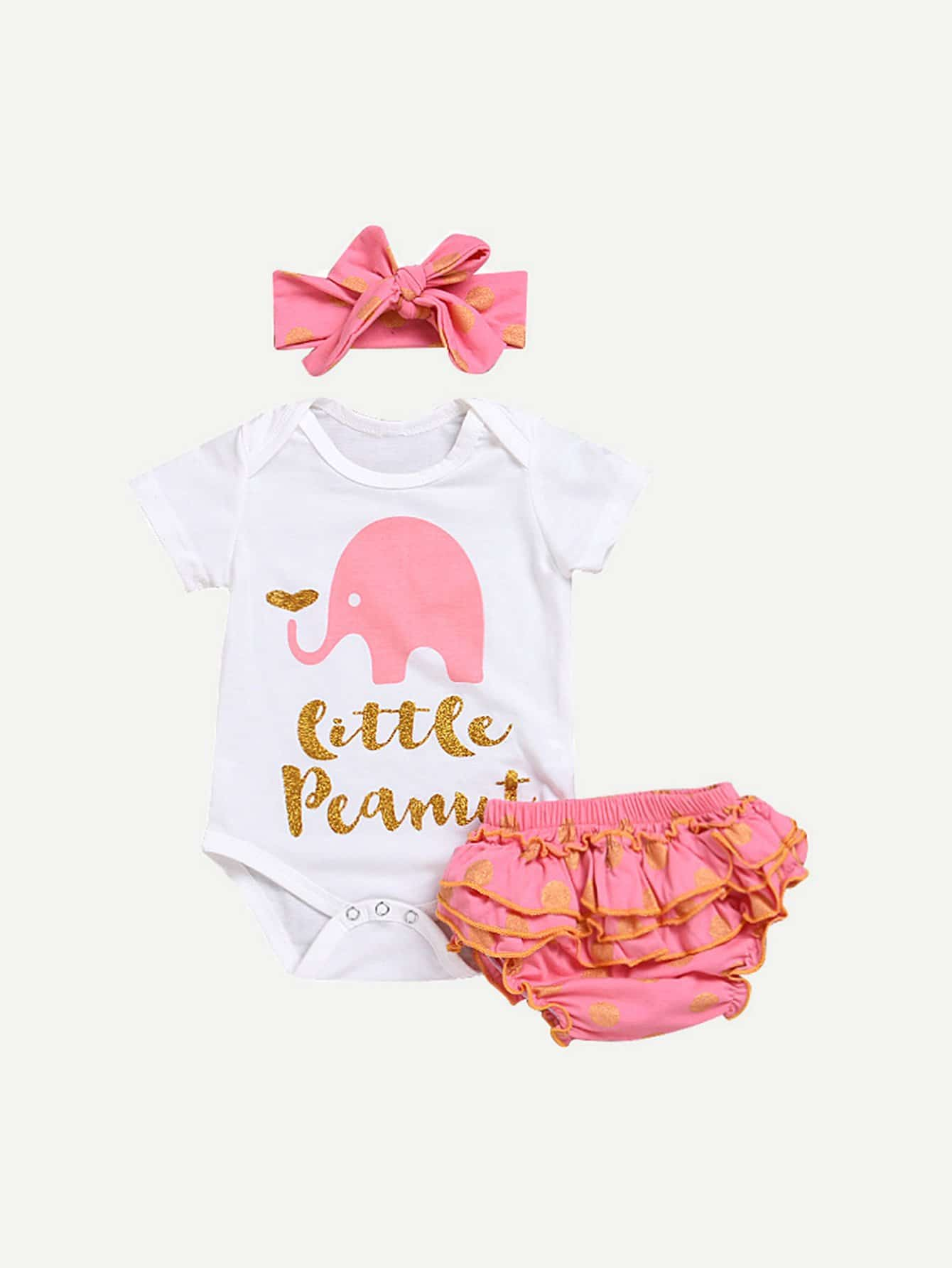 Girls Letter Print Romper And Ruffle Shorts Set With Headband