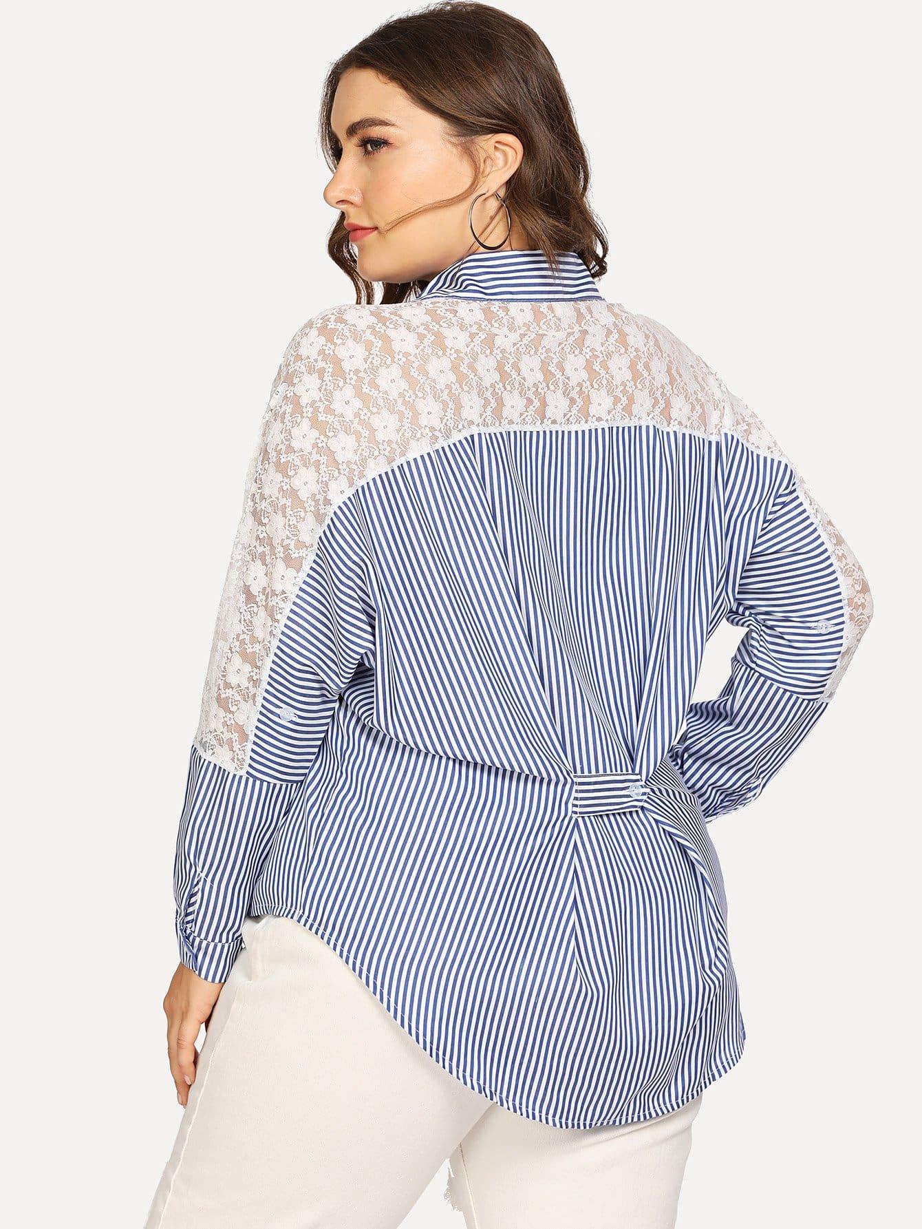Купить Большая полосатая рубашка и со симметрическими кружевами, Franziska, SheIn