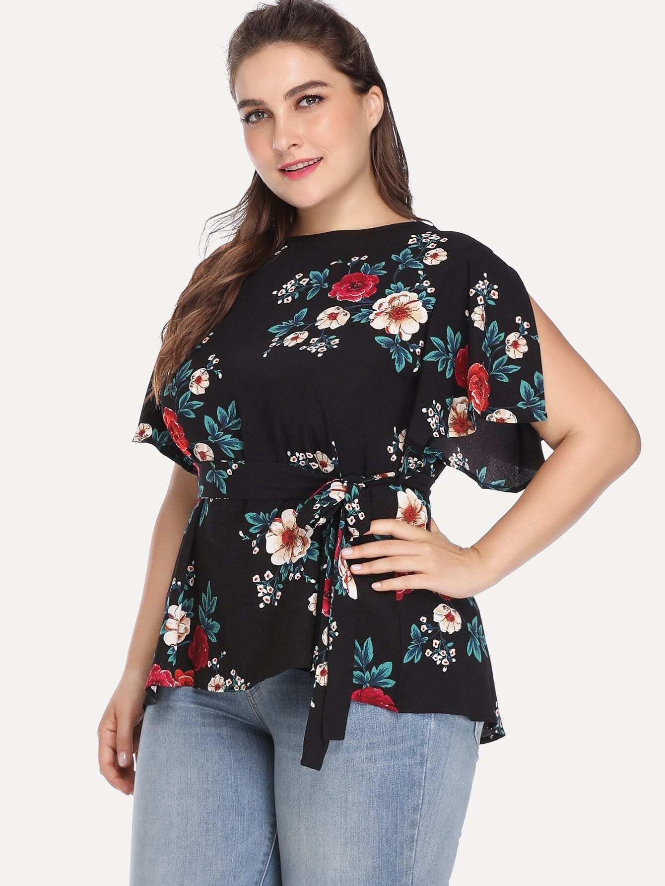 Übergroße Bluse mit Schlitz auf den Ärmeln, Blumenmuster und Selbstbindung