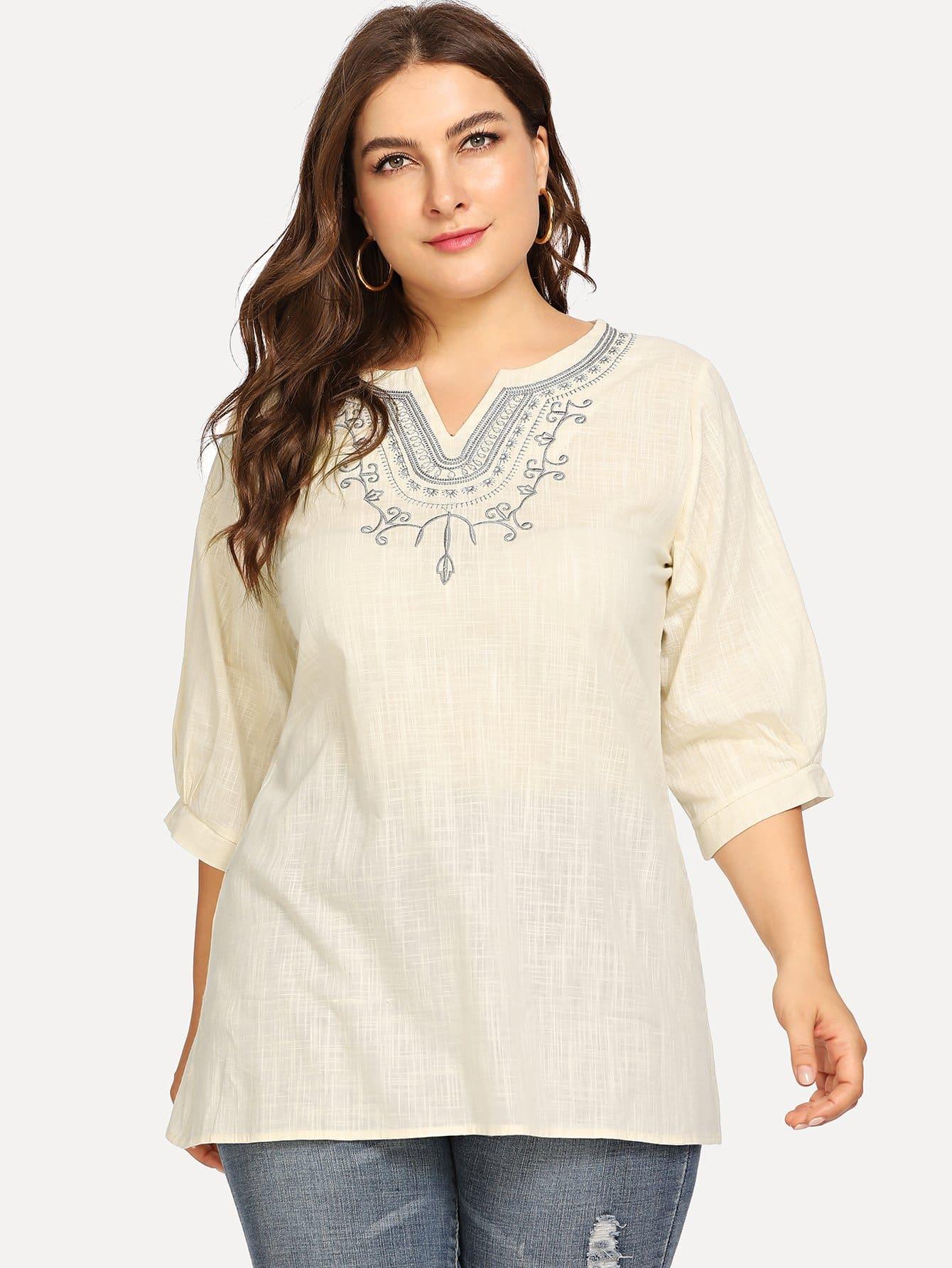 Купить Большая длинная блузка и с рисунками вышивки, Franziska, SheIn