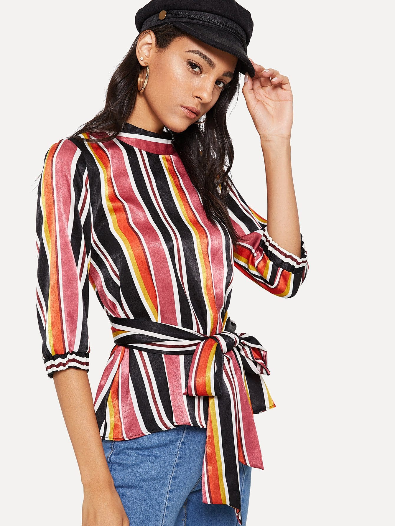 Striped Self Tie Waist Blouse yifsion hot women shiny sandals sexy square high heel sandals open toe black blue pink red leisure shoes women us plus size 4 15