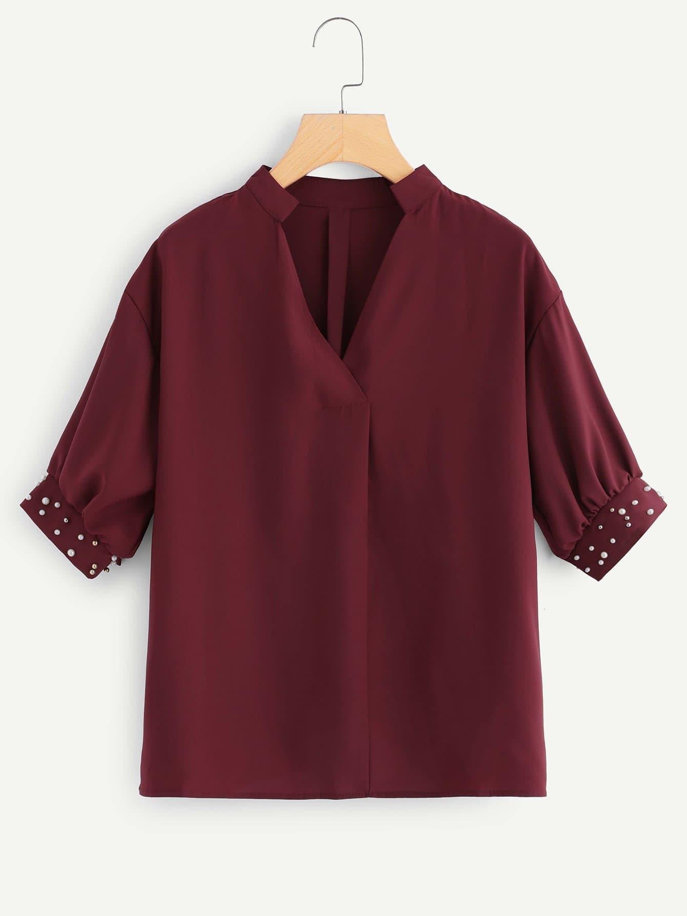 Купить Рубашка и рукава с украшением жемчугов, null, SheIn