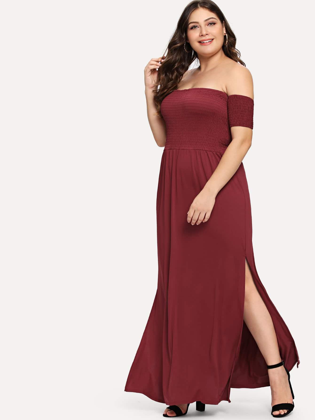 Купить Большое платье без бретелек и подол с вырезом, Carol, SheIn