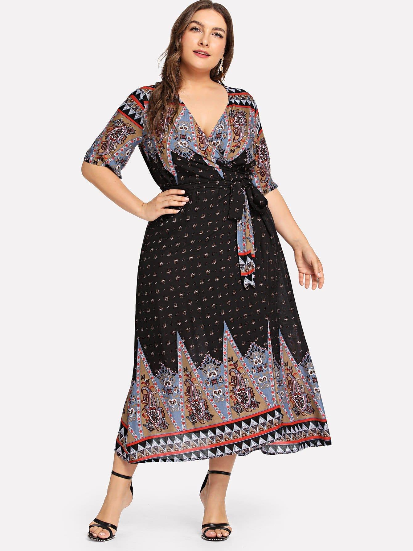 Купить Большое ситцевое платье и с поясом, Franziska, SheIn