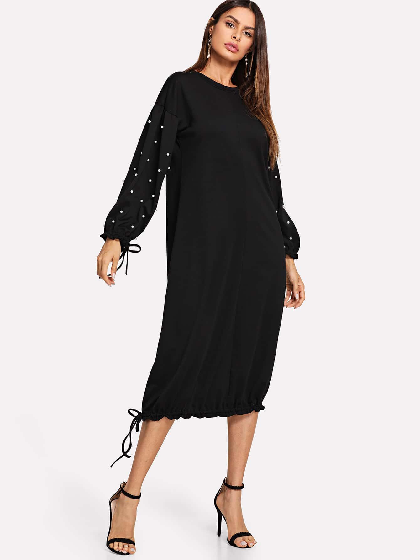 Купить Платье с украшением жемчугов и с басоном эластичным, Andy, SheIn