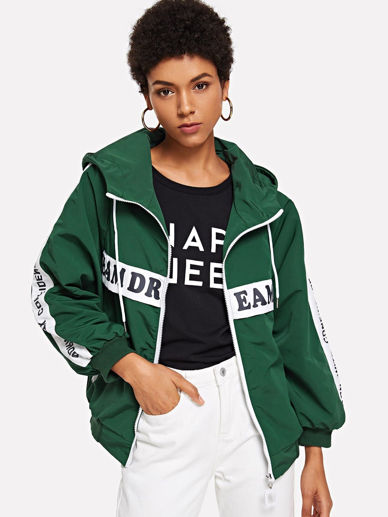 Zipper Detail Letter Print Hooded Jacket