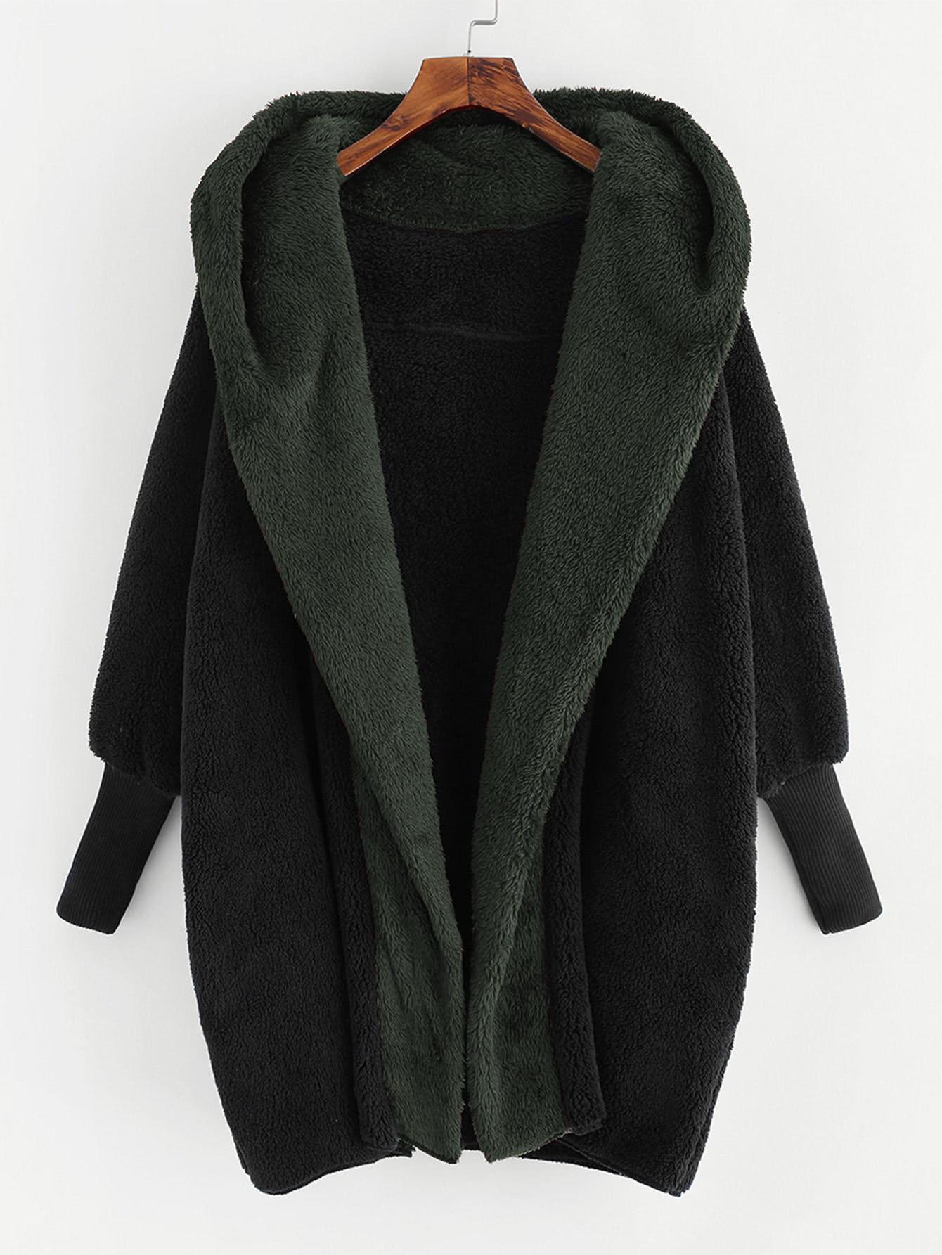 Купить Тедди пальто с капюшоном из искусственных кож, null, SheIn