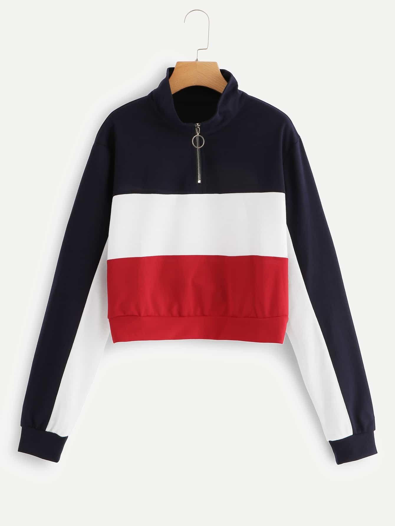 Купить Цветная кусковая спортивная футболка и с застёжкой молния перед одежды, null, SheIn