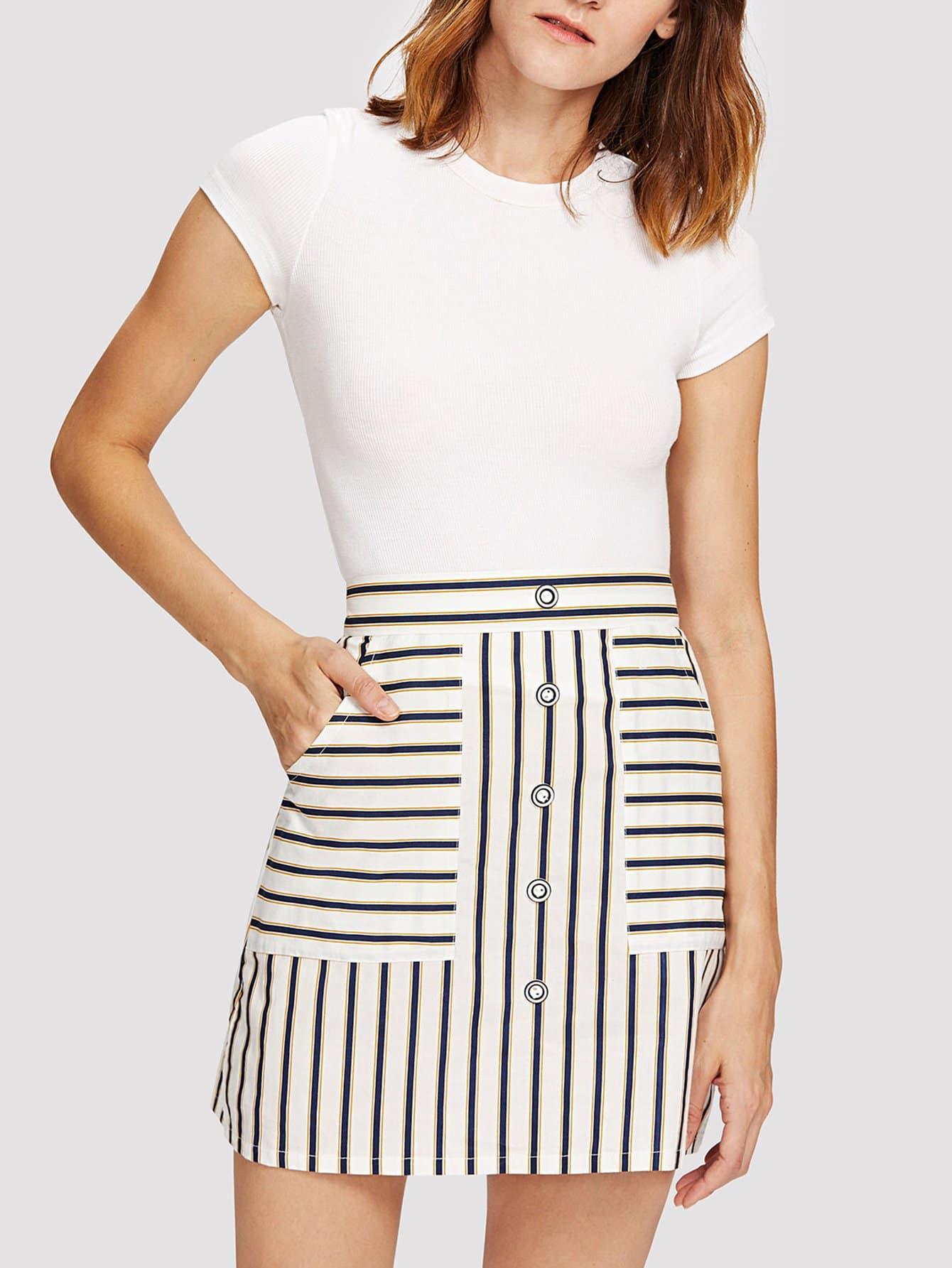 где купить Dual Pocket Striped Button Front Skirt дешево