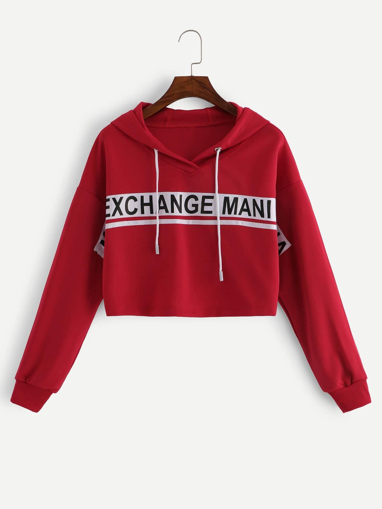 Купить Спортивная футболка с капюшоном и лента с рисунками буквы, null, SheIn
