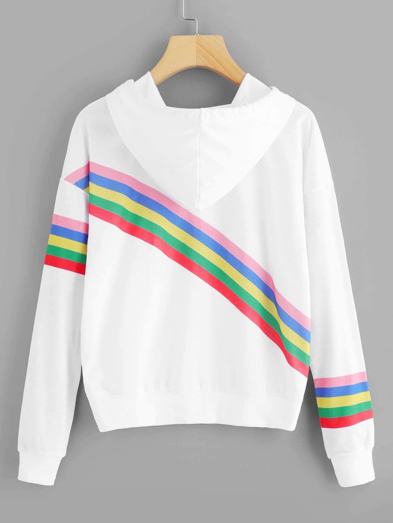 Купить Спортивная футболка с капюшоном и с рисунком радужки, null, SheIn
