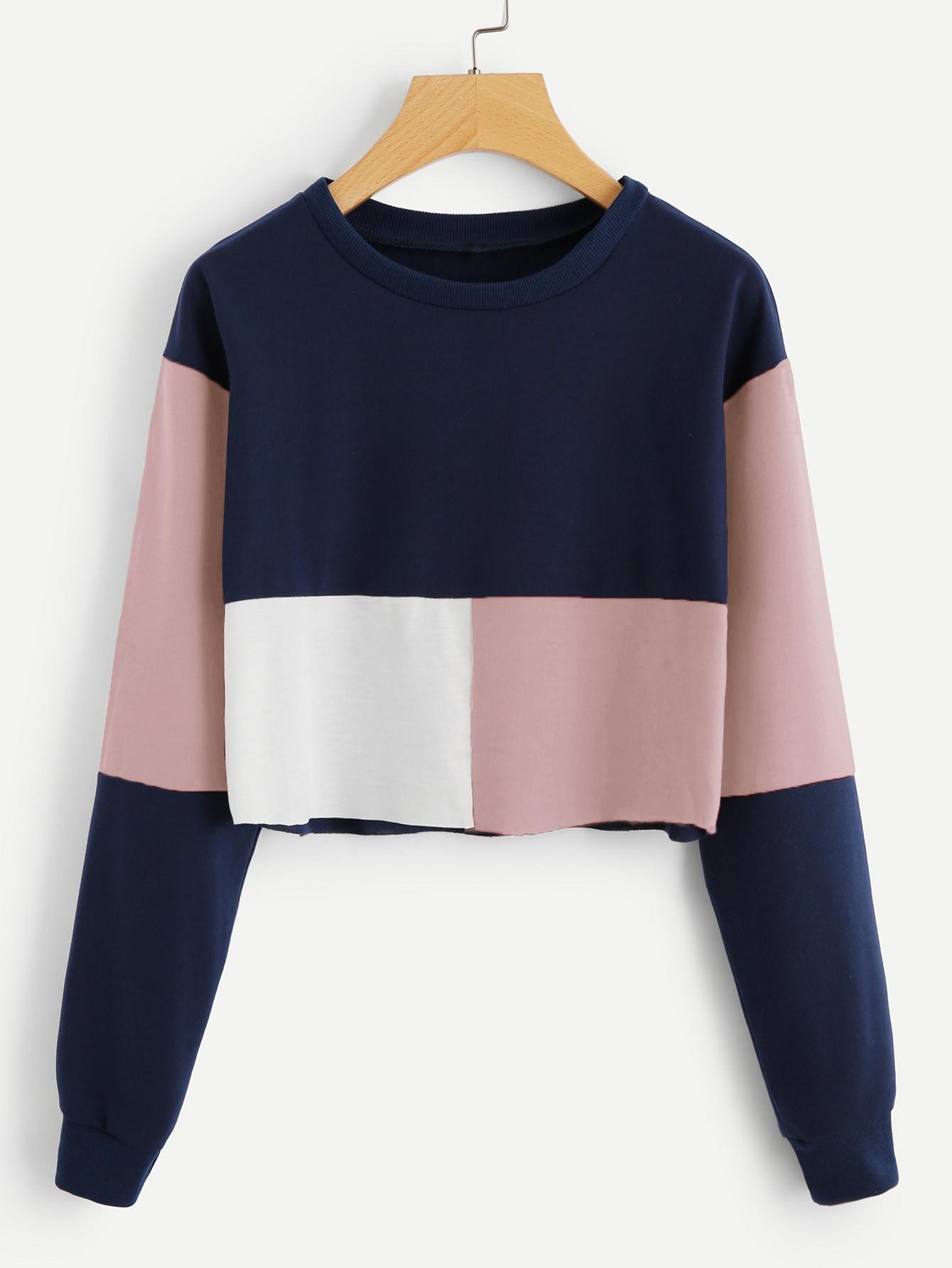 Купить Цветная кусковая закройная спортивная футболка, null, SheIn